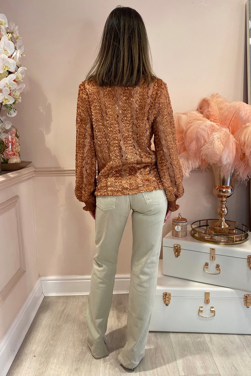 HARPER BRONZE LACE BLOUSE WITH PEARL BUTTONS