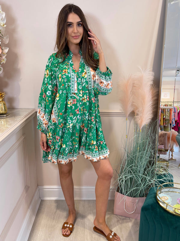 VALENTINA GREEN FLORAL PRINTED DRESS