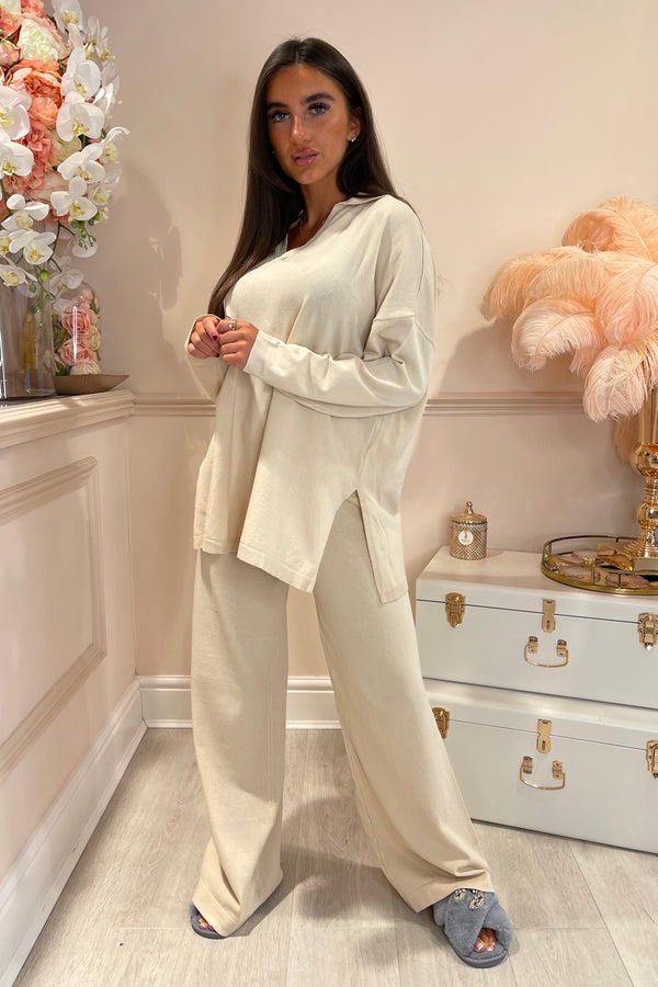 BEIGE VNECK LOOSE FIT LOUNGE SET