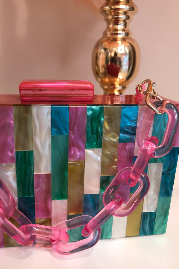 MULTI PINK ACRYLIC BOX BAG
