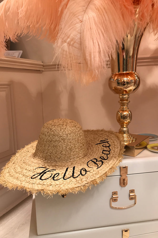 HELLO BEACH STRAW EMBROIDERED HAT