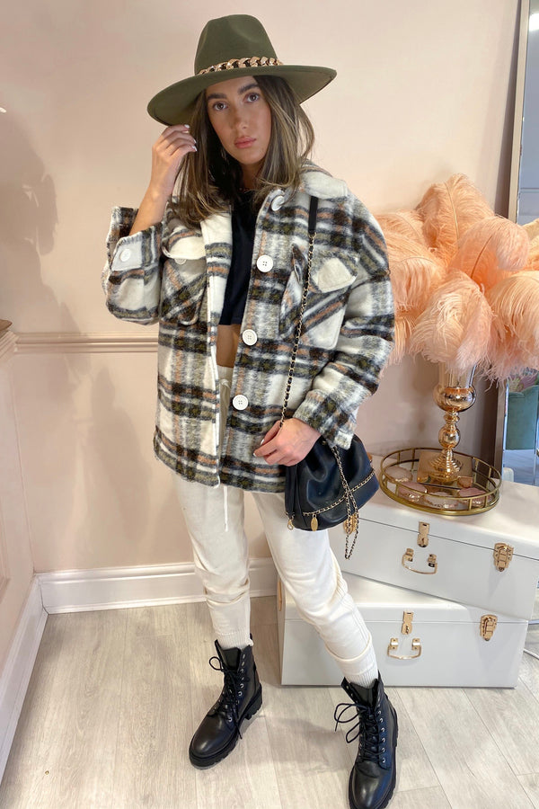 AVA WHITE/MULTI CHECK JACKET
