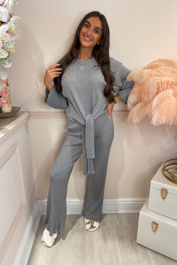 Grey Ribbed Tie Up Tracksuit