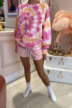TYE DYE PINK/ORANGE ROUND NECK JUMPER