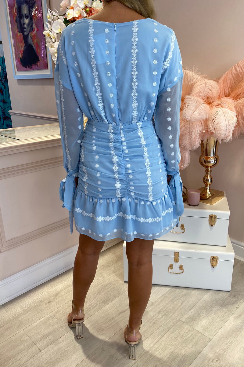 CLOUDIA BABY BLUE ROUCHED MINI DRESS