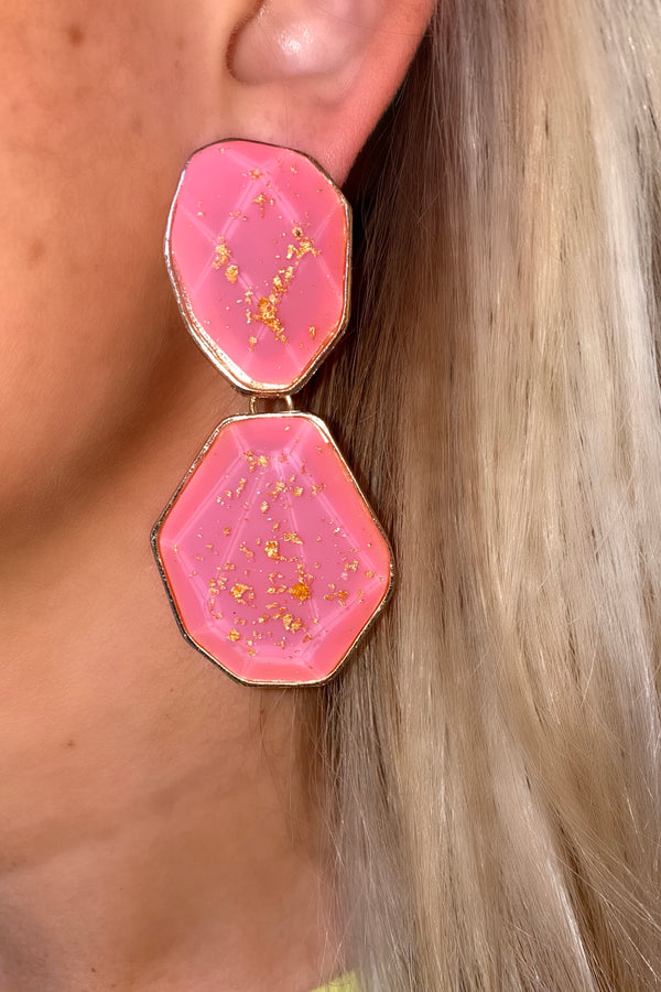 CORAL GOLD SPECK DROP EARRINGS