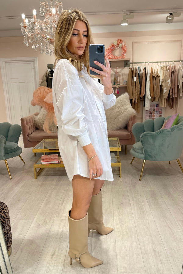 WHITE SHIRT DRESS WITH PLEATED WAIST