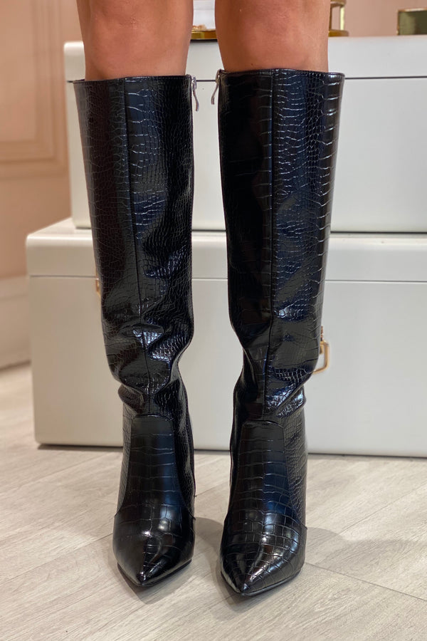 BLACK SNAKE KNEE HIGH FAUX LEATHER BOOTS