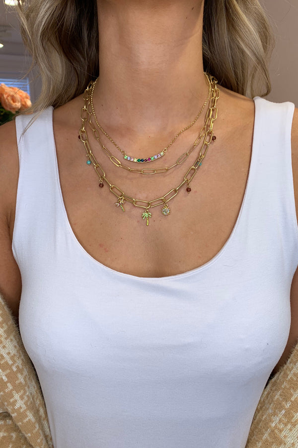 KT X BIBI RAINBOW TROPICS GOLD LAYERED NECKLACE