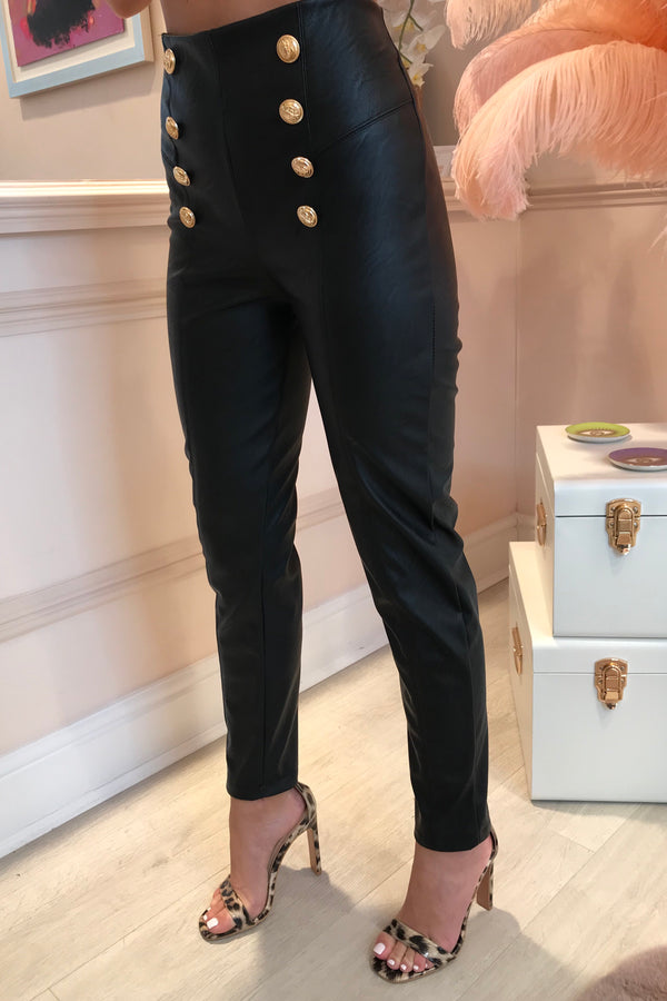 BLACK FAUX LEATHER TROUSER WITH GOLD BUTTON DETAIL