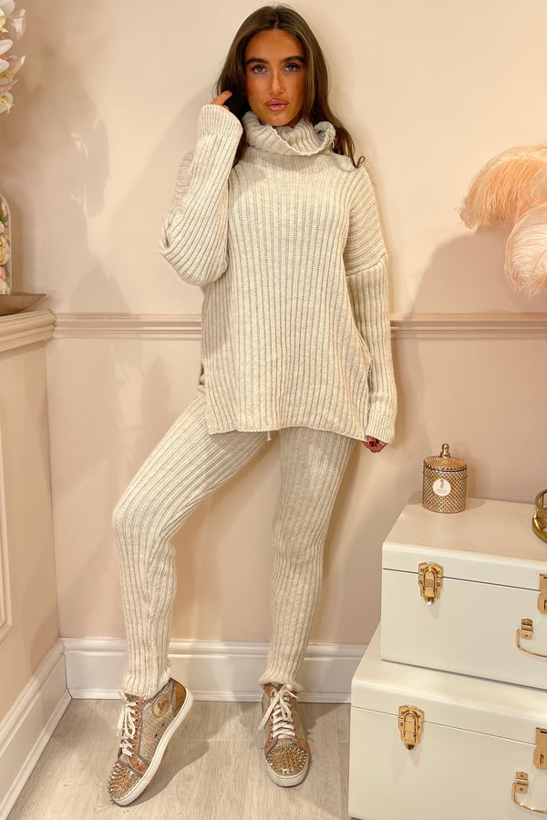 AMY BEIGE KNIT ROLL NECL TRACKSUIT