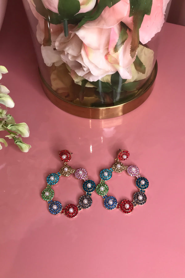 LUNA CRYSTAL CIRCLE EARRINGS MULTI COLOUR