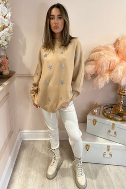 CAMEL KNIT WITH SILVER EMBELLISHED STARS