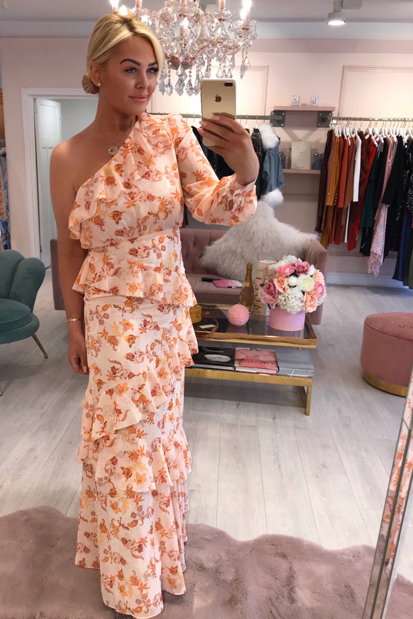 TD PEACH ORANGE FLORAL ONE SHOULDER MAXI DRESS