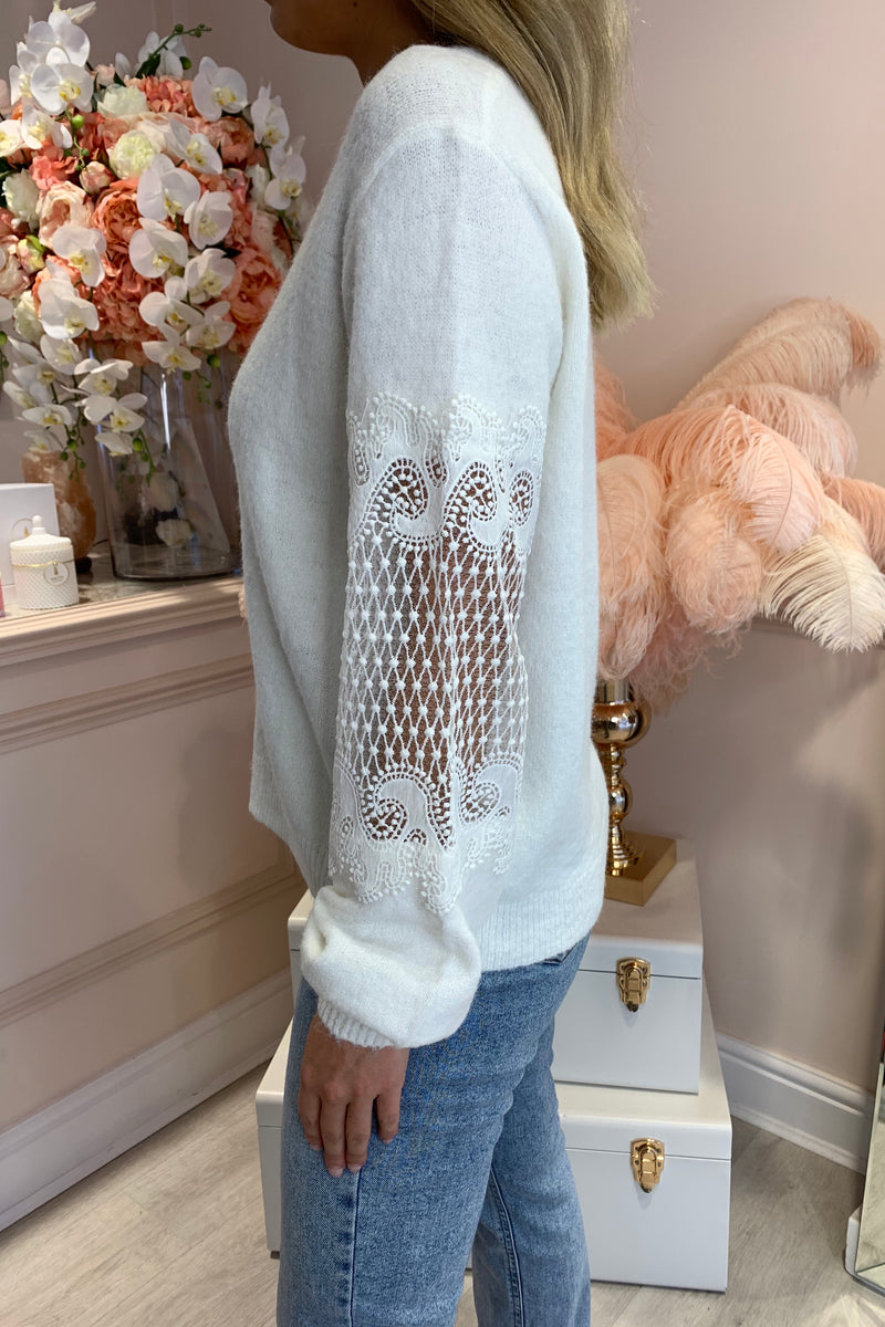 CREAM LACE SLEEVE CARDIGAN