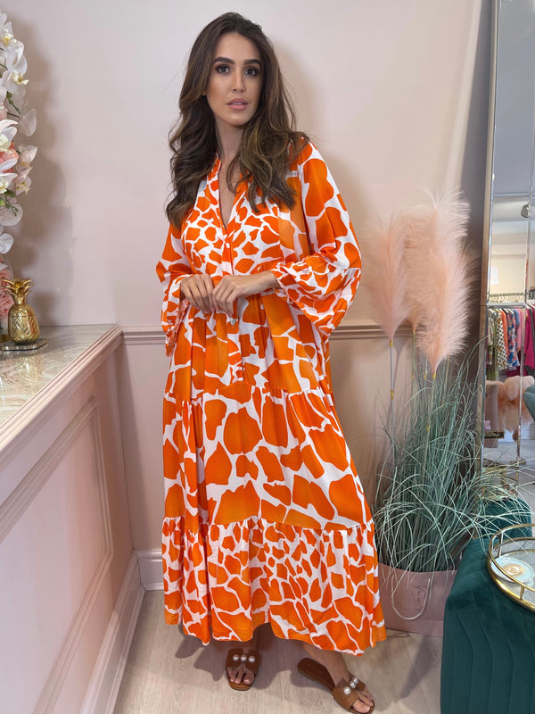 KATYA ORANGE WHITE PRINTED MAXI DRESS