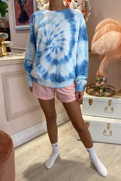 TYE DYE WHITE/BLUE ROUND NECK JUMPER
