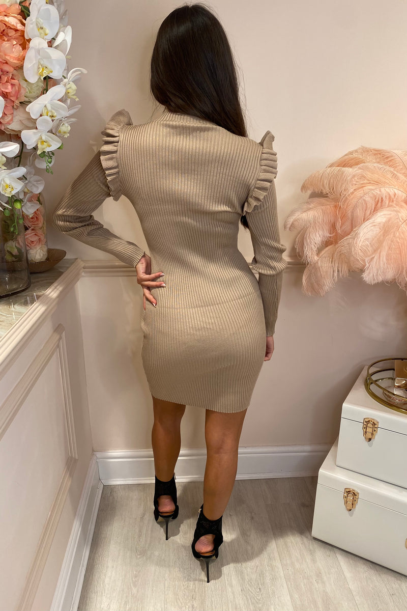 CHIARA BEIGE RIBBED DRESS WITH FRILL SLEEVE