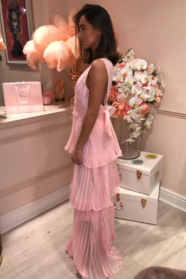 TD LIGHT PINK ORGANZA TIE BACK MAXI DRESS