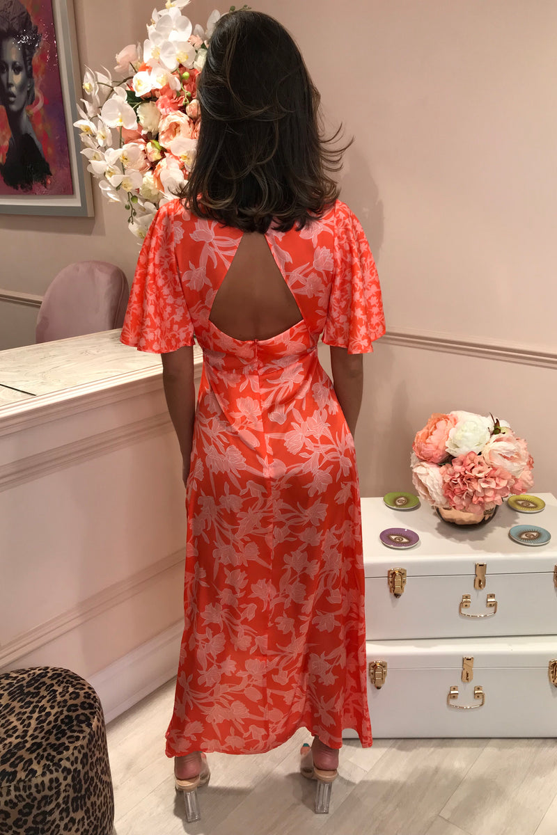 BAILEY ORANGE FLORAL ANGEL SLEEVE MAXI DRESS