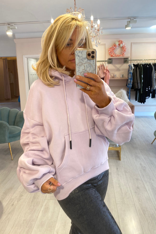 LILAC RUCHED SLEEVE OVERSIZED HOODIE