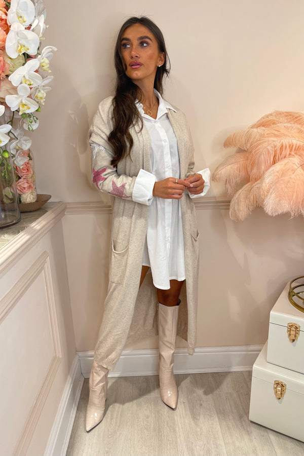 CREAM MAXI CARDI WITH PINK EMBELLISHED STAR