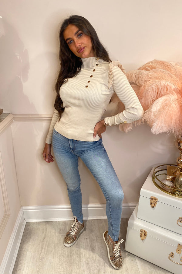 CHIARA CREAM RIBBED JUMPER WITH FRILL SLEEVE