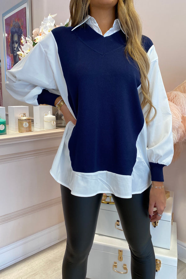 ROSIE SHIRT WITH NAVY KNITTED DETAIL