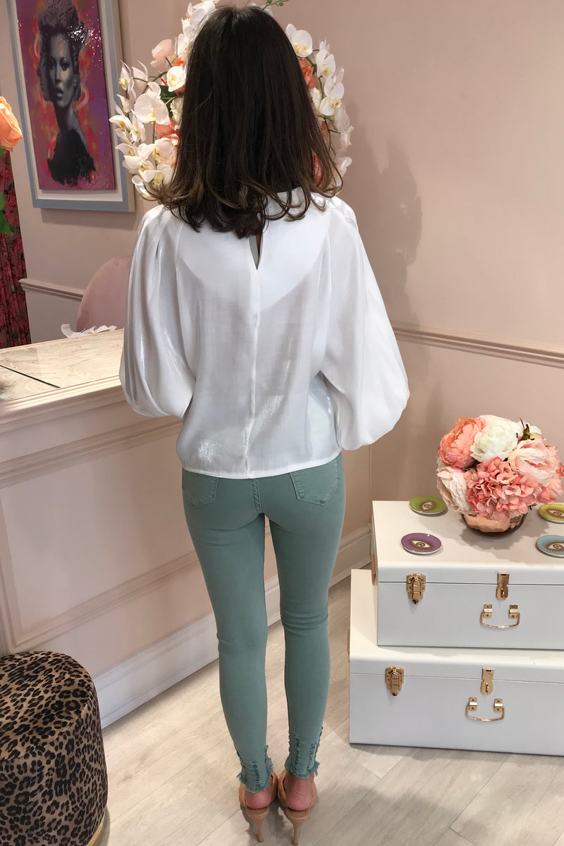 VIENNA WHITE SATIN BLOUSE
