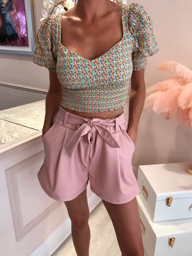 PU FRONT KNOT BELTED SHORTS ROSE