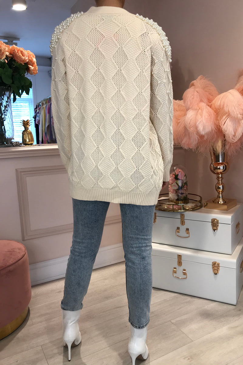 CREAM PEARL KNITTED CARDIGAN