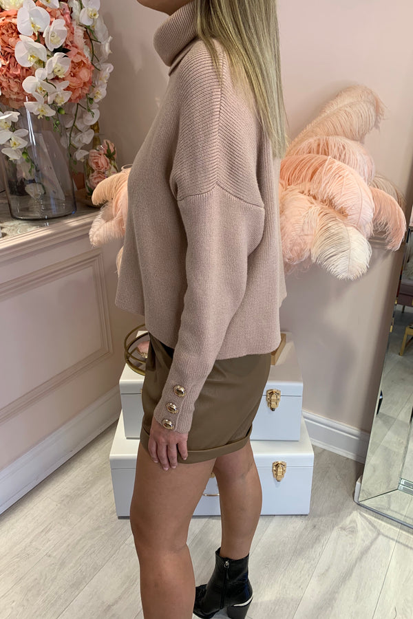 BEIGE KNIT ROLL NECK WITH GOLD BUTTON CUFF