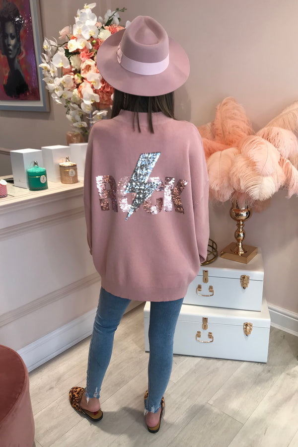 BABY PINK ROCK SEQUIN JUMPER