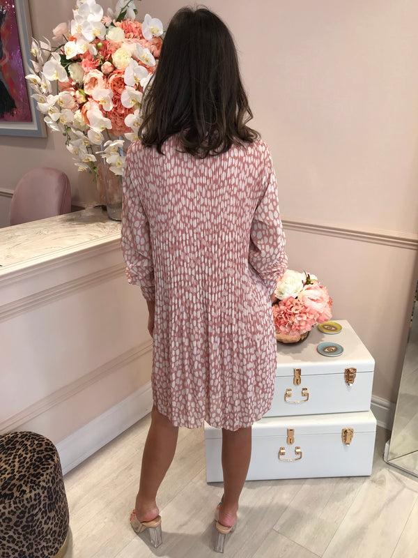 BLUSH LEOPARD PLEATED MINI DRESS