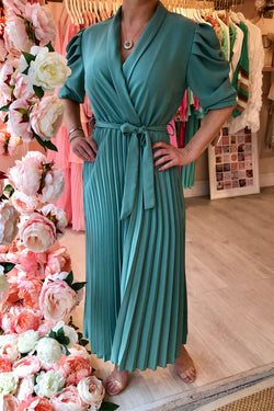 MARA TEAL PUFF SLEEVE PLEATED MIDI DRESS