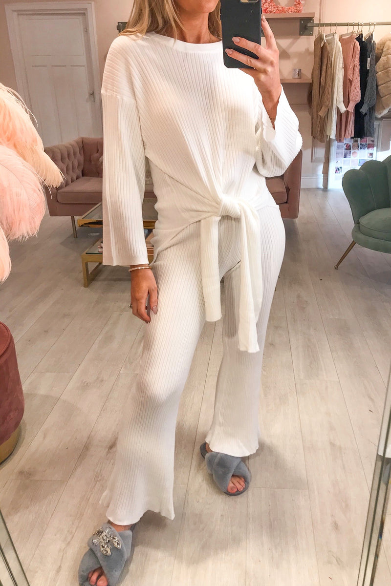 White Ribbed Tie Up Tracksuit