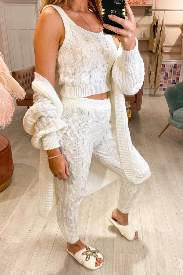 KEEPER WHITE 3 PC CABLE KNIT TRACKSUIT