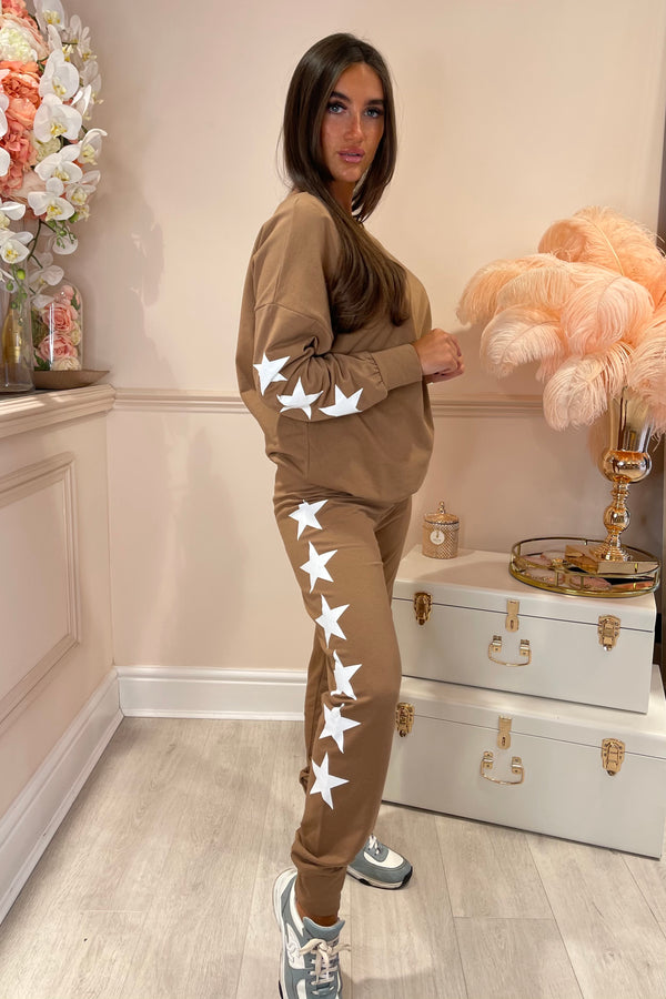 LIGHT BROWN STAR TRACKSUIT