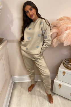 TAUPE LOVE HEART EMBELLISHED TRACKSUIT