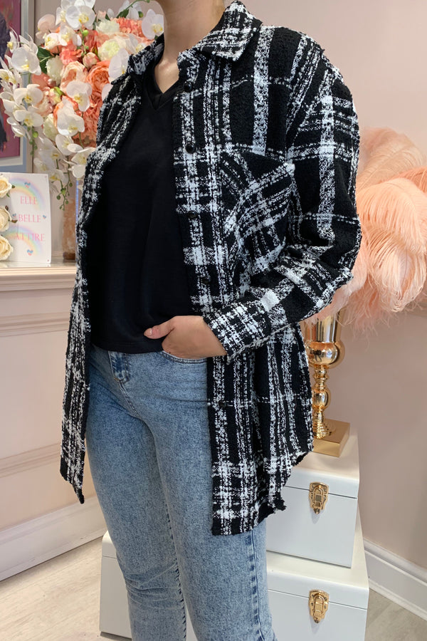 BLACK/WHITE CHECK OVERSIZED JACKET