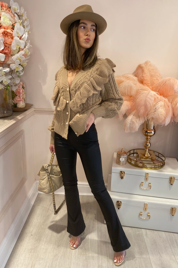 BEIGE FRILL KNIT CARDIGAN WITH PEARL BUTTON FRONT