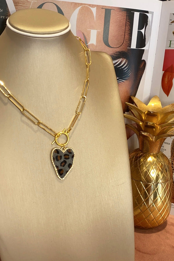 FAUX LEAOPARD PRINT HEART NECKLACES 3 COLOURS