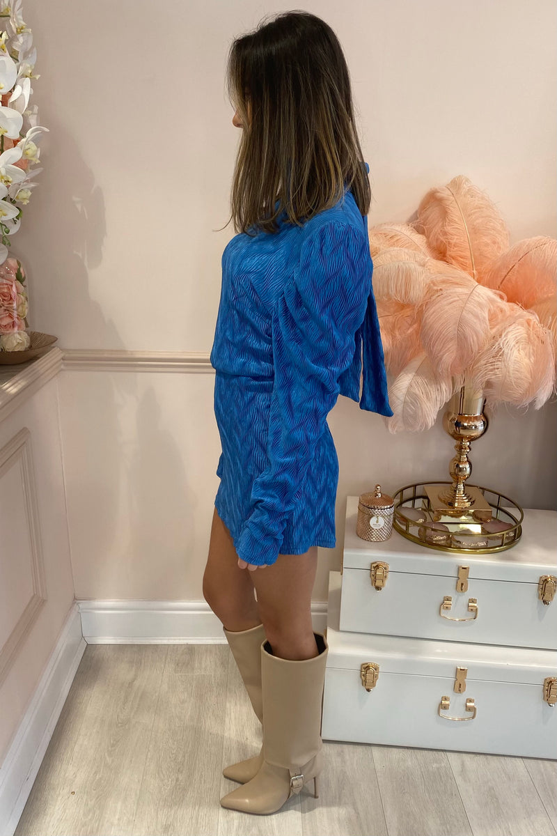 BLUE PLISSE MINI DRESS