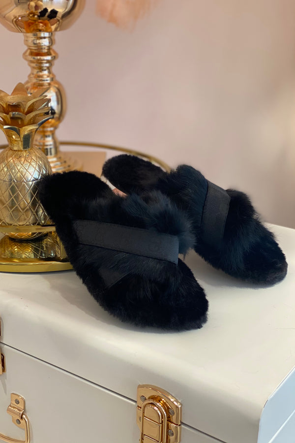 BLACK FAUX FUR & CANVAS PRINTED GG SLIPPERS