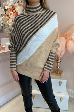 LUREX STRIPE KNIT ROLL NECK