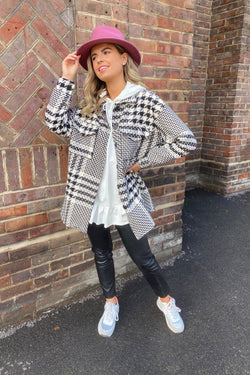 BLACK/WHITE CHECK OVERSIZED SHIRT/JACKET