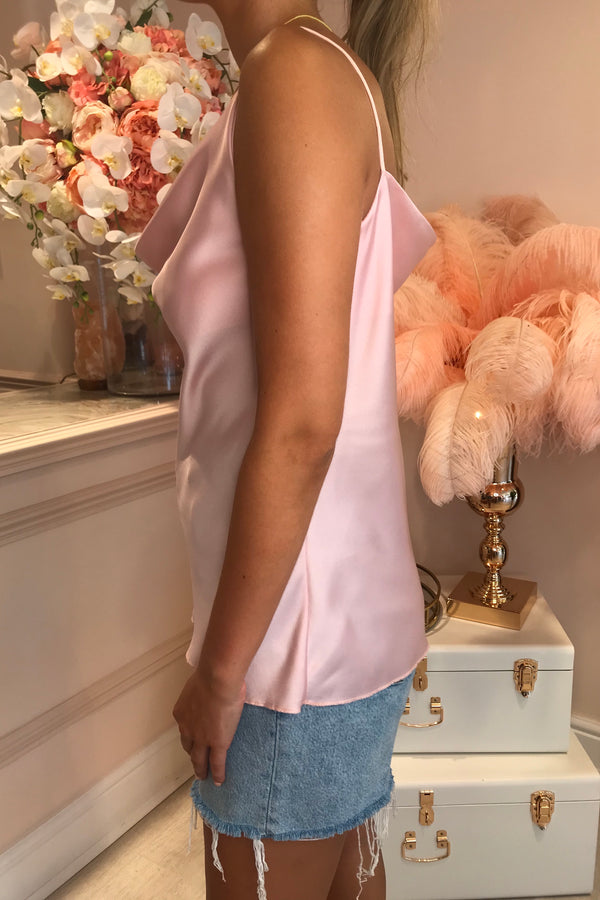 LIGHT PINK SILKY COWL NECK CAMI