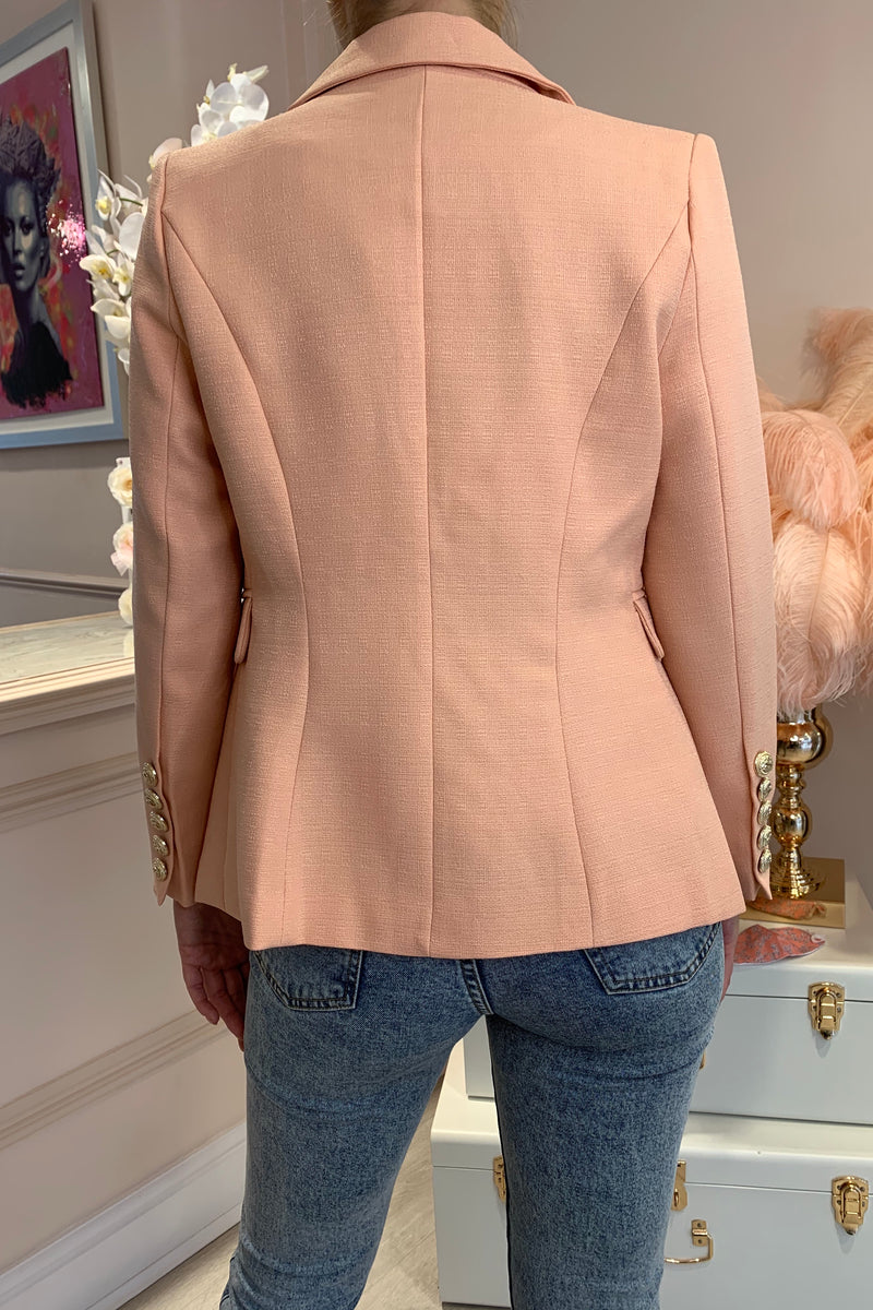 CORAL GOLD BUTTON BLAZER