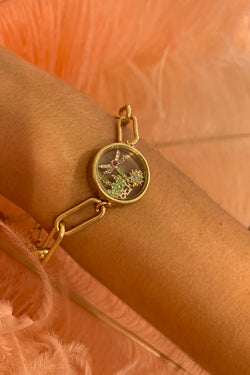 KT X BIBI CLUB TROPICANA GOLD PALM LOCKET BRACELET
