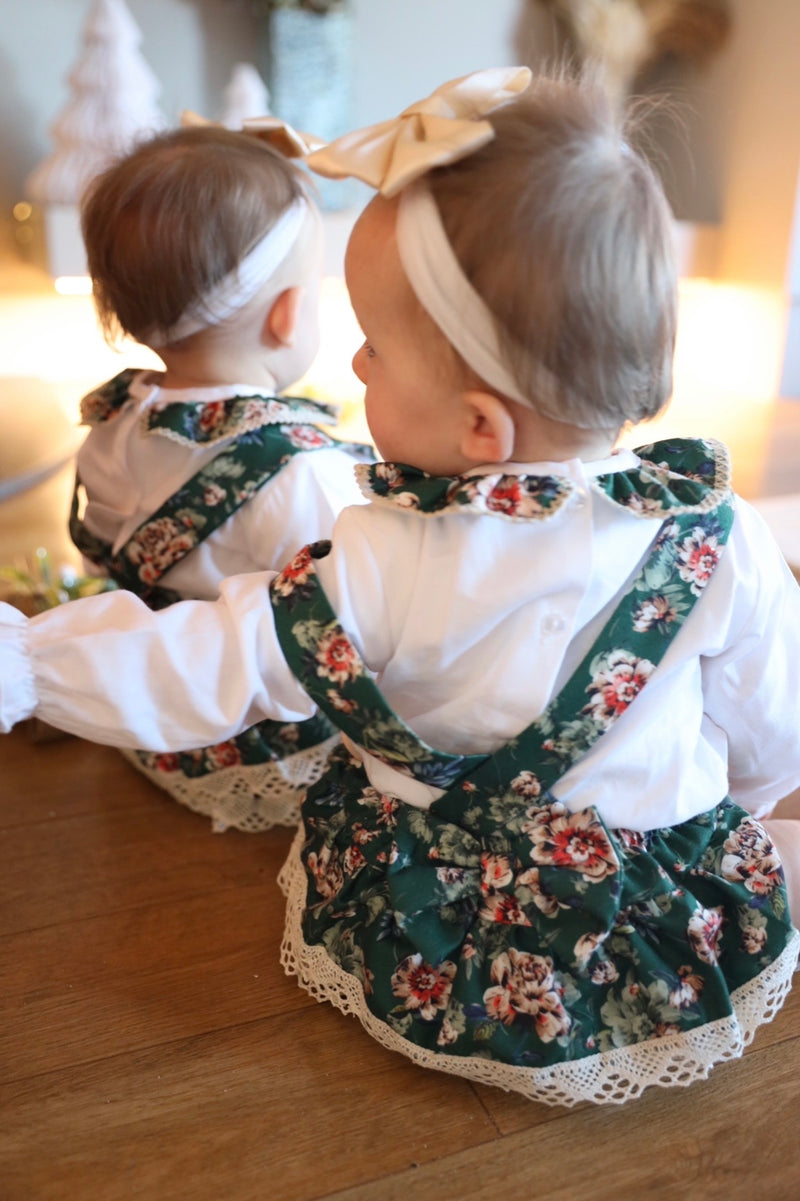BABYGIRLS GREEN FLORAL ROMPER WITH SHIRT UNDERLAY